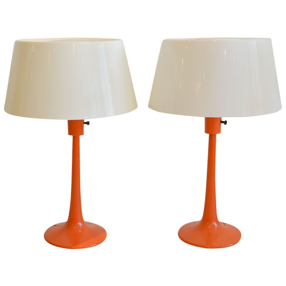 Pair Of Orange Table Lamps By Gerald Thurston For Lightolier From A Unique Collection