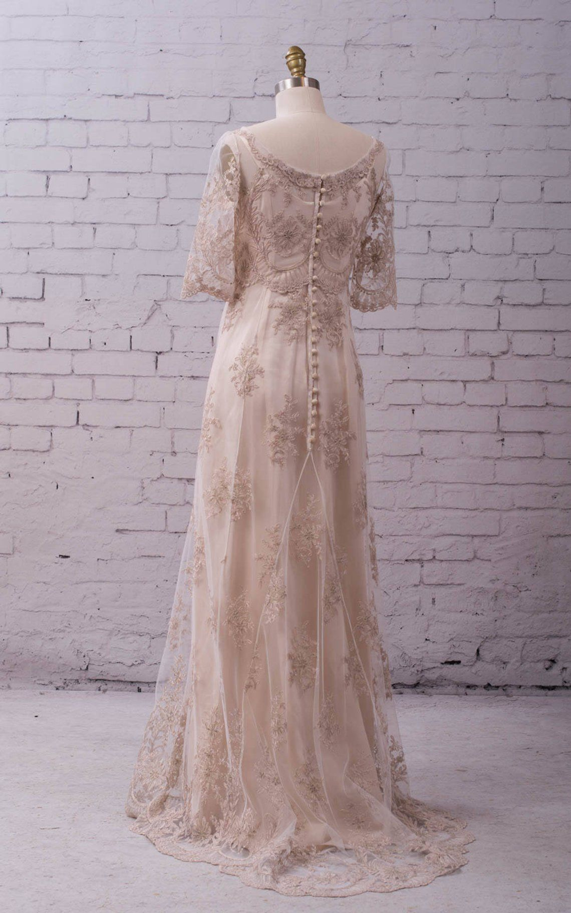 Lace Wedding Gown Wedding Dress With Sleeves Buttons Up Back