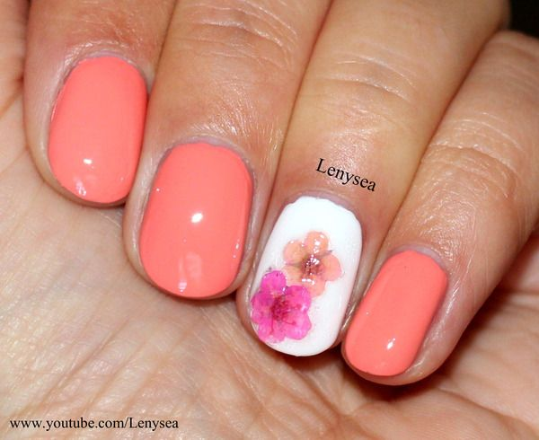 Springsummer Nails Peach Background With One Cream Nail With