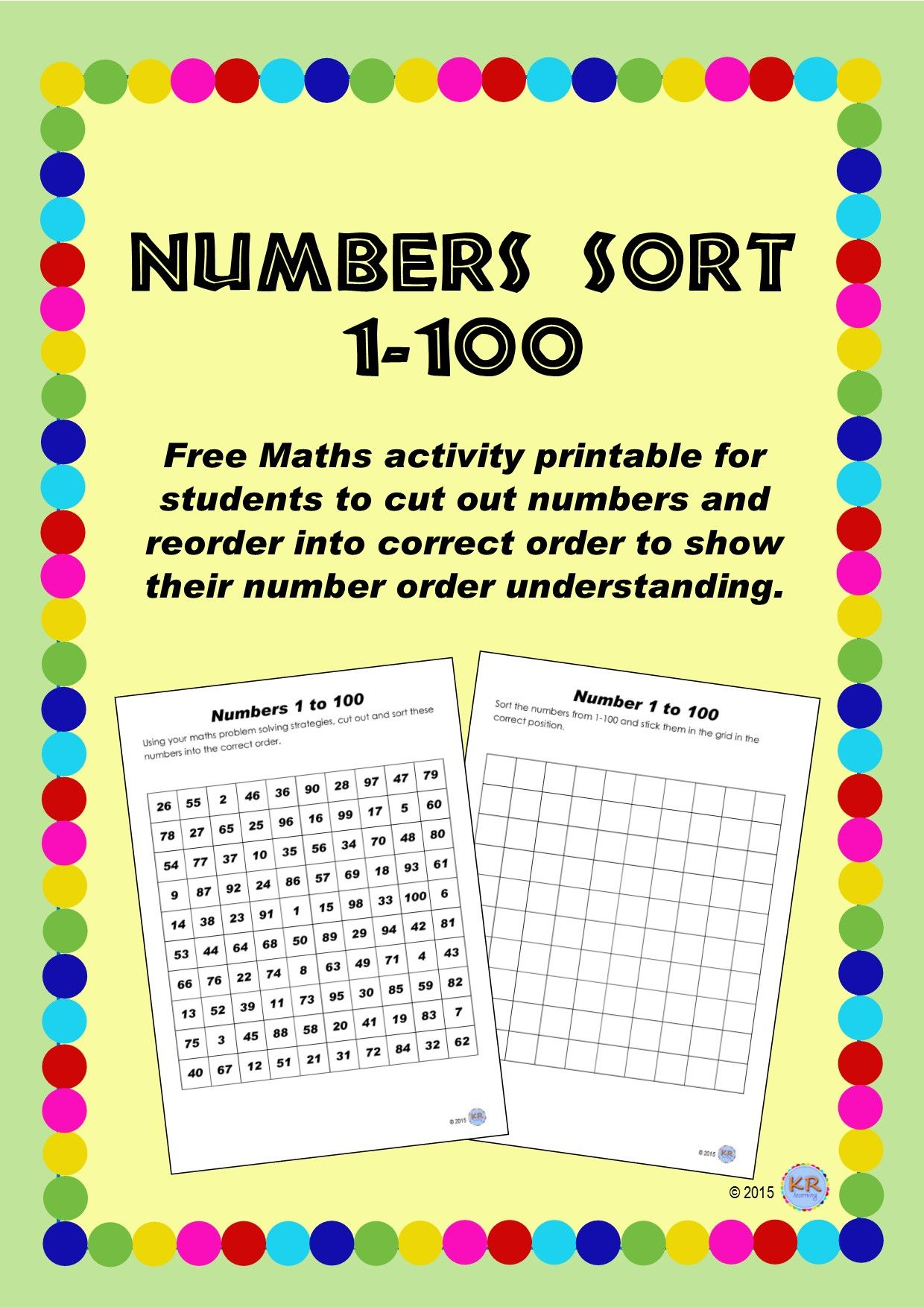 Number Sort Problem Solving Activity 1 100 Random Page Of Numbers For Students To Sort And Show Problem Solving Activities Free Math Activity Problem Solving