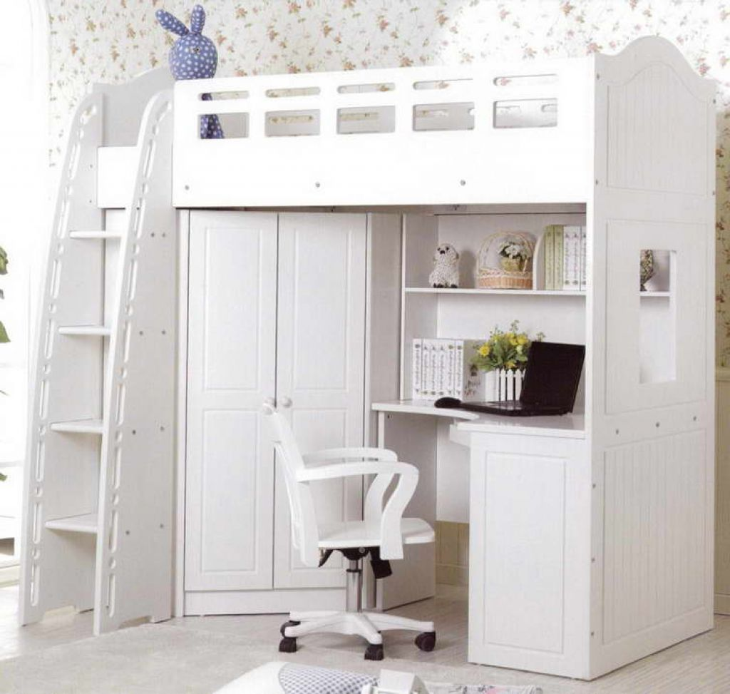 So Extraordinary Full Pink Loft Bed With Desk Closet And Stairs ...
