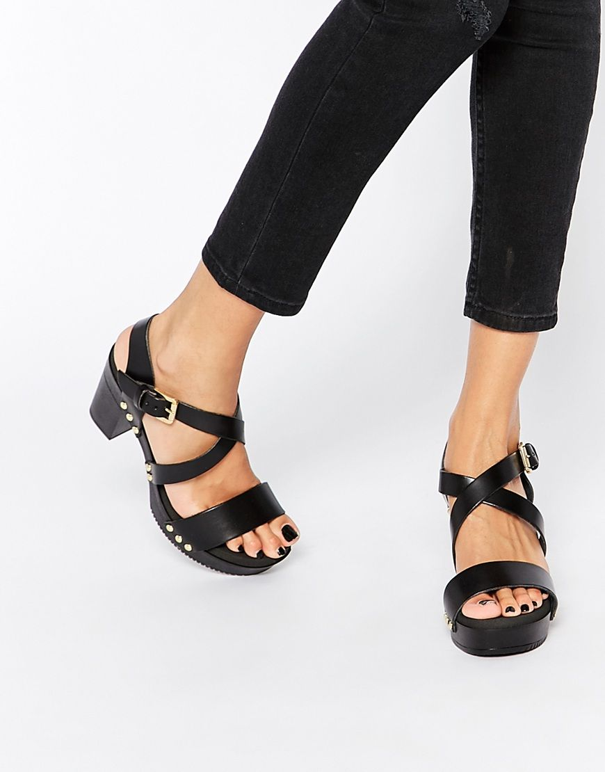 Dune Jaxon Black Leather Heeled Clog Sandals