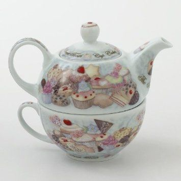 Cupcake and Cookies Design Tea For One Teapot Cup
