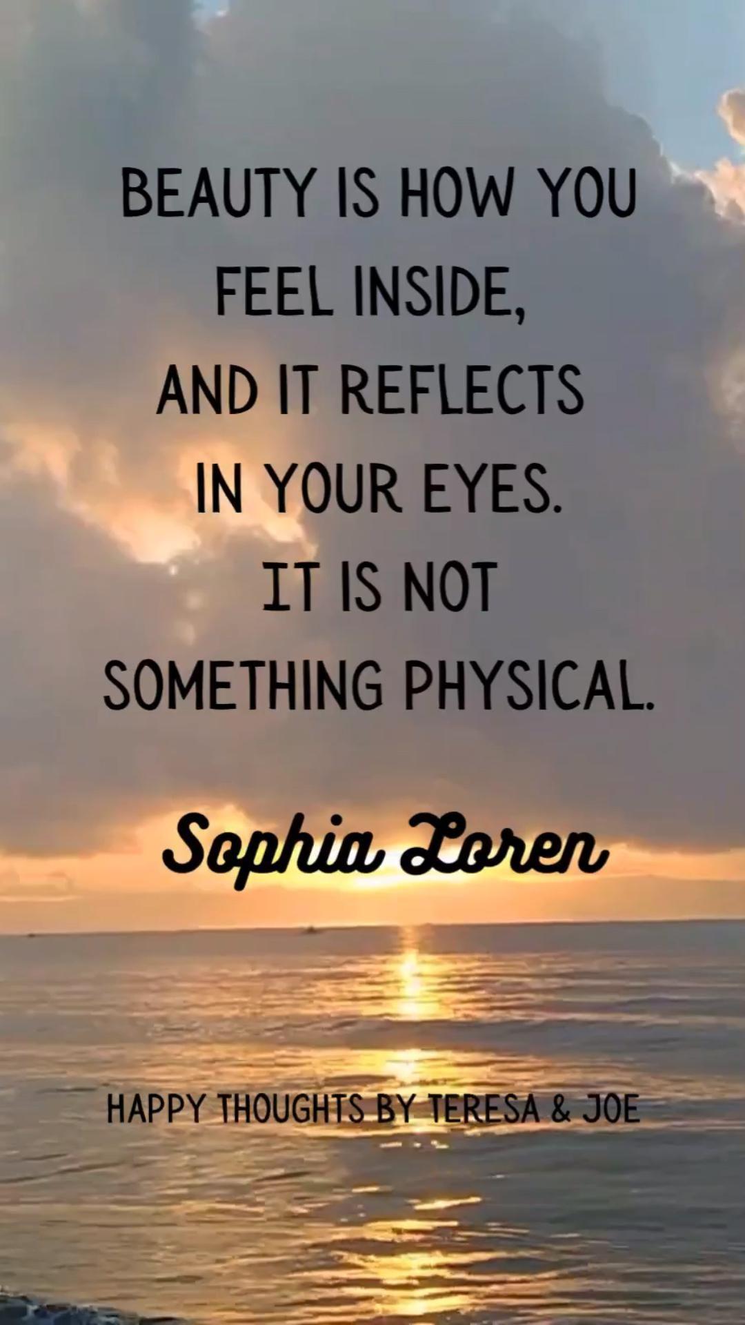Inner Peace Quote - Sophia Loren Ocean Waves