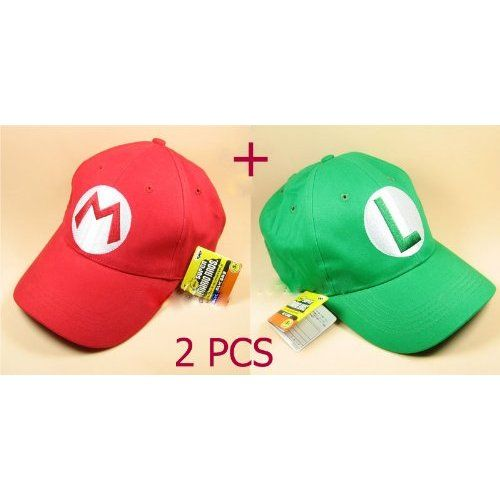 ddb87a418d4 Amazon.com  2PCS Super Mario Bros Baseball Cap Mario Luigi Cosplay Red Green   Toys   Games