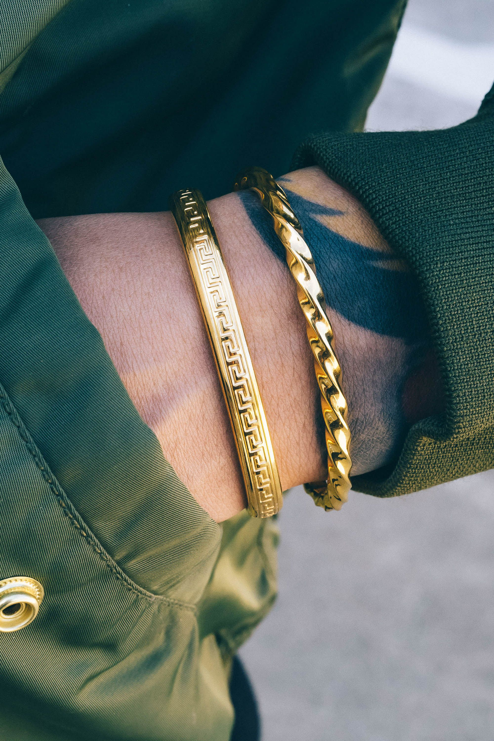 Love this modernistic spin on classic men's bracelets ...