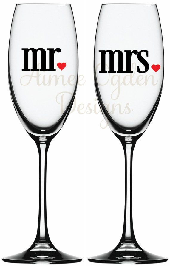 3a9effbf922 DIY Mr. and Mrs. Champagne flute / Wine Glass Vinyl Decal / Sticker Set  Bride and Groom His and Hers