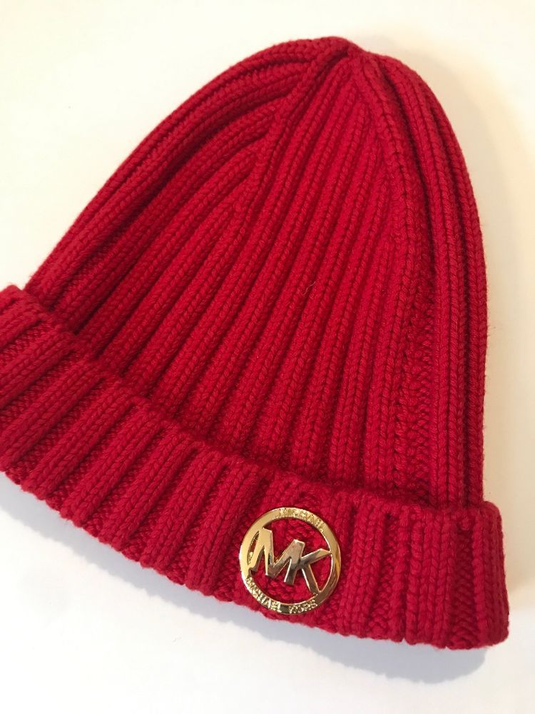 Michael Kors Women s Beanie Hat Knit Gold Logo Red Ladies  fashion  clothing   shoes  accessories  womensaccessories  hats (ebay link) 4c23acb45232