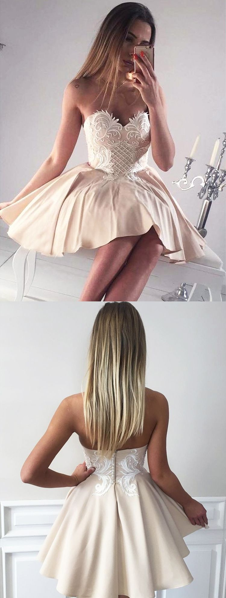 Sexy a line sweetheart backless champagne satin short homecoming