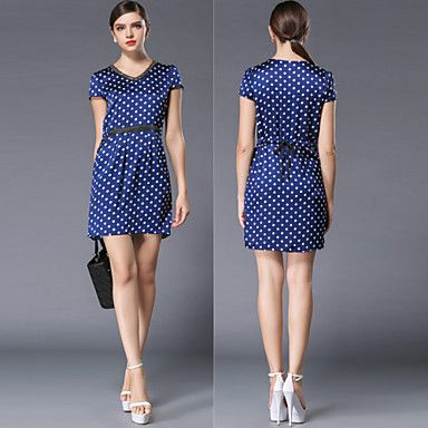 Jiaowei® Women's Plus Sizes Polka Dot Dress Short Sleeve Casual / Cute / Vintage Dress – USD $ 43.60