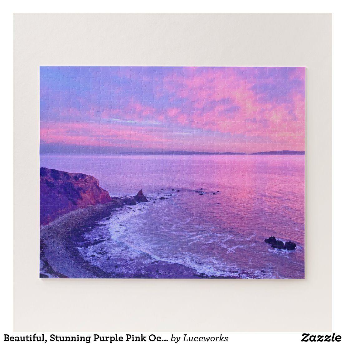Beautiful Stunning Purple Pink Ocean Sunset Photo Jigsaw Puzzle Zazzle Com In 2020 Sunset Painting Ocean Sunset Pink Ocean