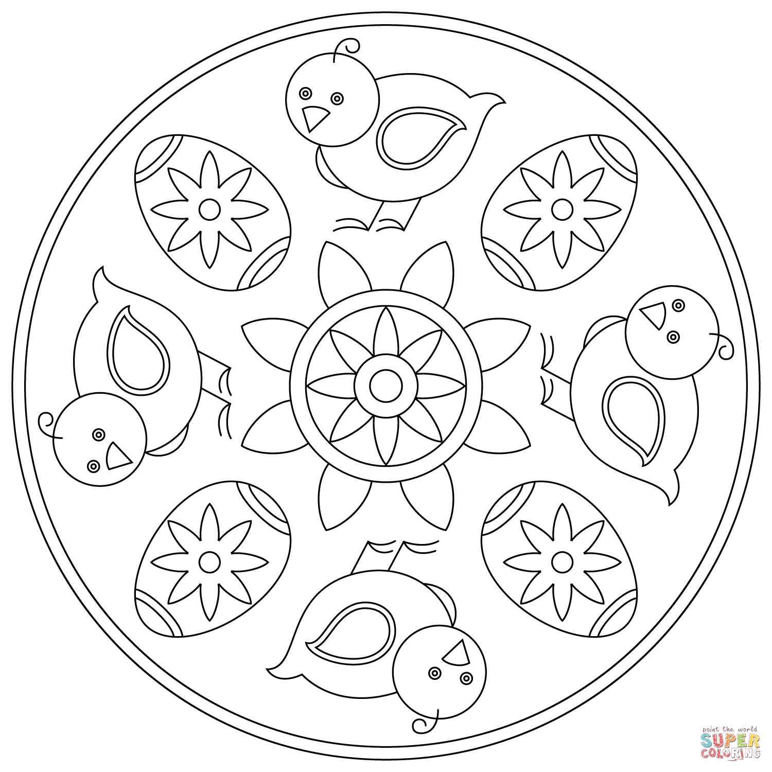 Easter Mandala with Chick and Egg Super Coloring Easter
