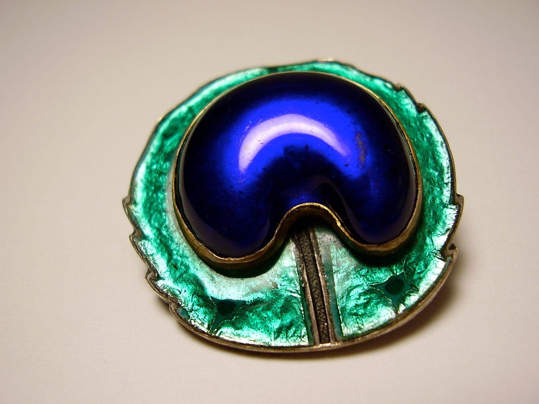 52b2cbfbf Antique French 1900 Art Nouveau Piel Frères Freres Gabriel Stalin Blue  Glass Cabochon Stone Green Enamel Peacock Feather Eye Brooch Pin