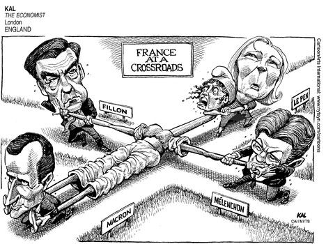 KAL  (2017-04-21)  FRANCE : ELECTIONS CROSSROADS FILON LE PEN MELENCHON MACRON 042017 ÷  Source: The Economist - London, England ÷  Provider: CartoonArts International / The New York Times Syndicate
