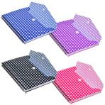 """Spiral Notebooks with Polka-Dot Plastic Covers and Pockets, 5x7"""""""