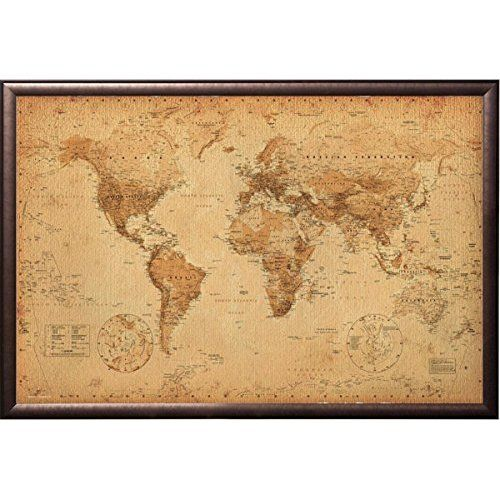 World country flags with names american usa canada flag globe earth framed world map vintage dry mount poster rust wood framed perfect for push pins or tracking trips gumiabroncs Choice Image
