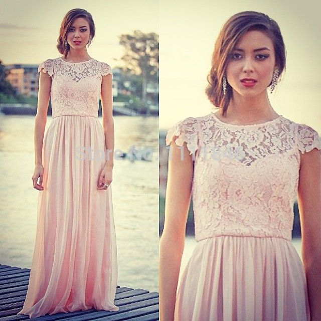 Cheap lace dress blue, Buy Quality lace dress directly from China lace sheath wedding dress Suppliers:    2014 New Arrival Lace Capped Sleeves Navy Bridesmaid Dresses Chiffon Backless Custom Made Party DressUS $ 129.54/piec