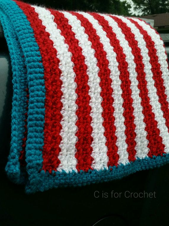 Striped Baby Blanket Dr Seuss Inspired Crochet Carseat