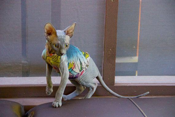 Lucky Birds In Kitten Sizes Tattoo Inspired By Simplysphynx 10 00 Cat Sweaters Kitten Clothes Cat Tattoo