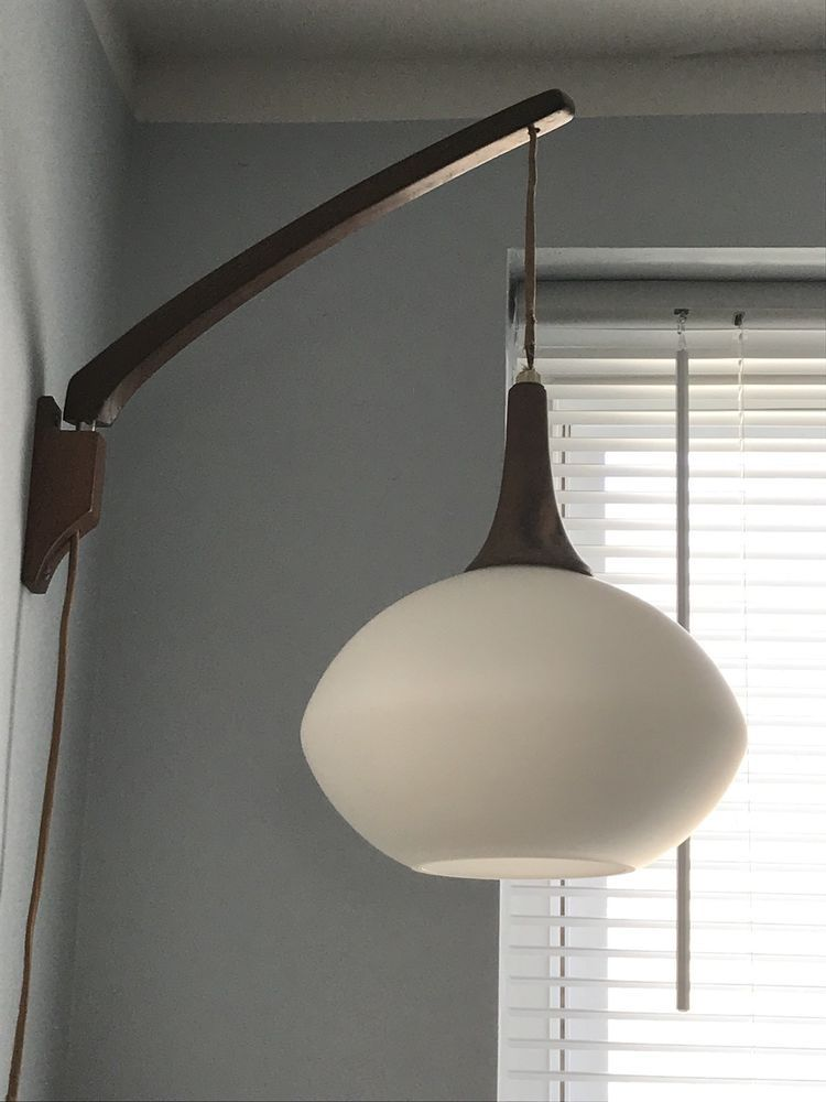 Vintage Mcm Danish Modern Mid Century Hanging Teak Wall Lamp