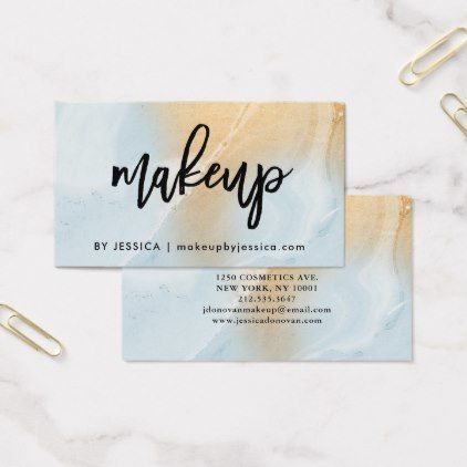 Modern soft blue and faux gold marble makeup business card modern soft blue and faux gold marble makeup business card artists unique special customize reheart Choice Image