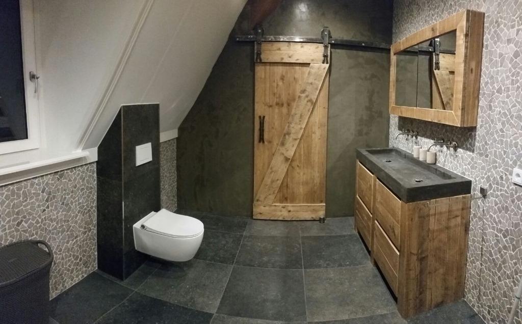 ≥ Steigerhouten wastafelmeubel wastafelkast badkamer hout ...