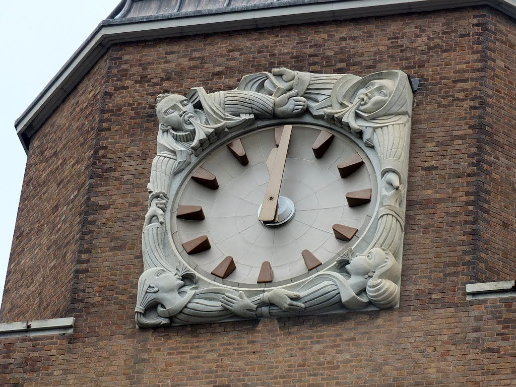 Art deco clock face that adorns the halford house building