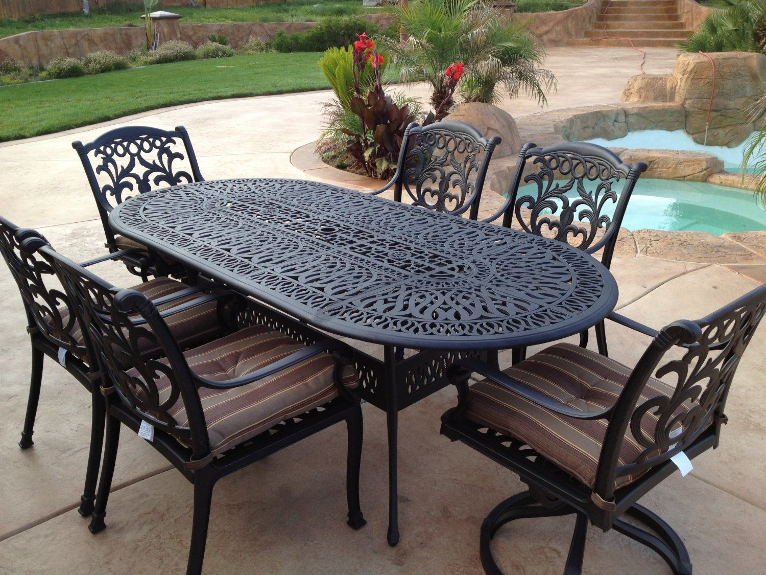 Cast Iron Patio Set Table Chairs Garden Furniture Wrought Iron