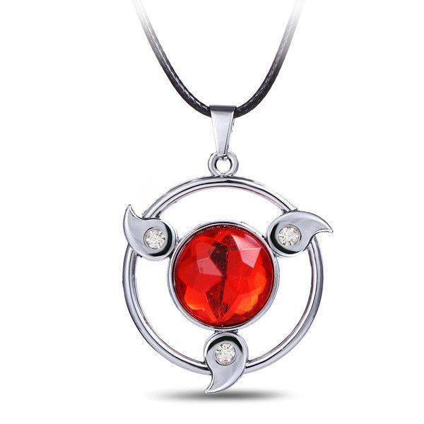 Fashion Anime Naruto Sharingan Double Ring Pendant Necklace Cosplay Prop Gifts