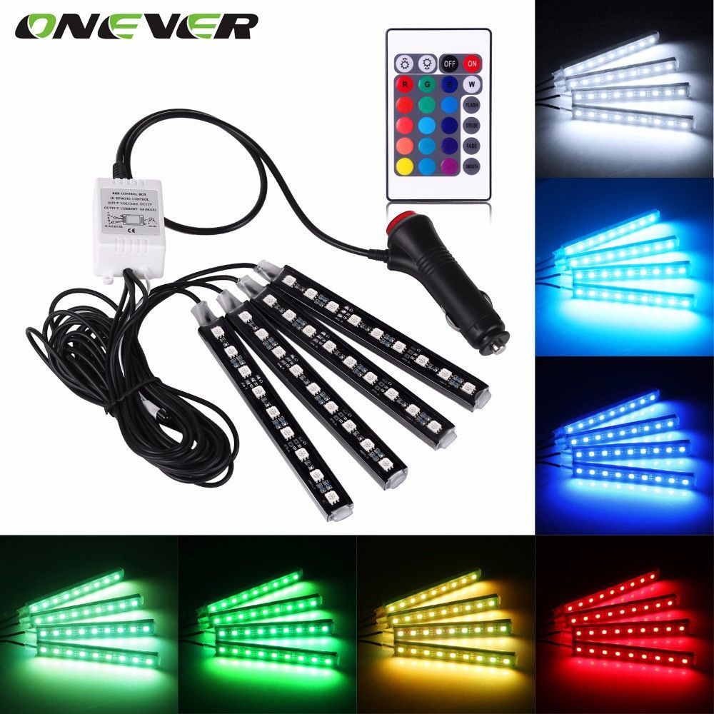 4pcs Car Rgb Led Strip Light Led Strip Lights 16 Colors Car Styling Decorative Atmosphere Lamps Car Interi Strip Lighting Led Light Strips Rgb Led Strip Lights