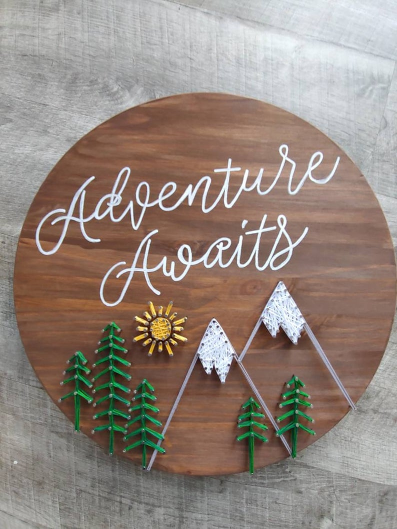 Adventure Awaits String Art, baby room decor, nursery decor, adventure decor, travel string art