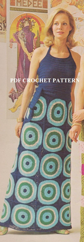 Vintage 1970'S Motif Halter & Skirt Crochet PDF by KatnaboxCrochet