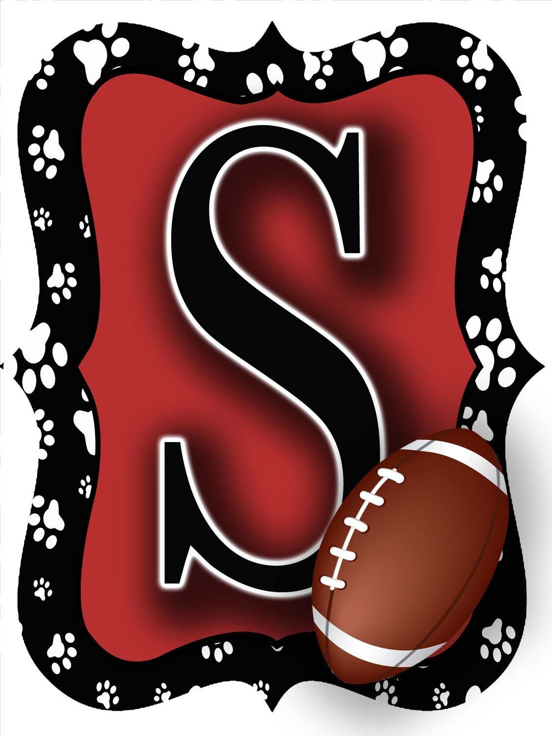 Red Black Paw Print Football Door Hanger Discover More Ideas