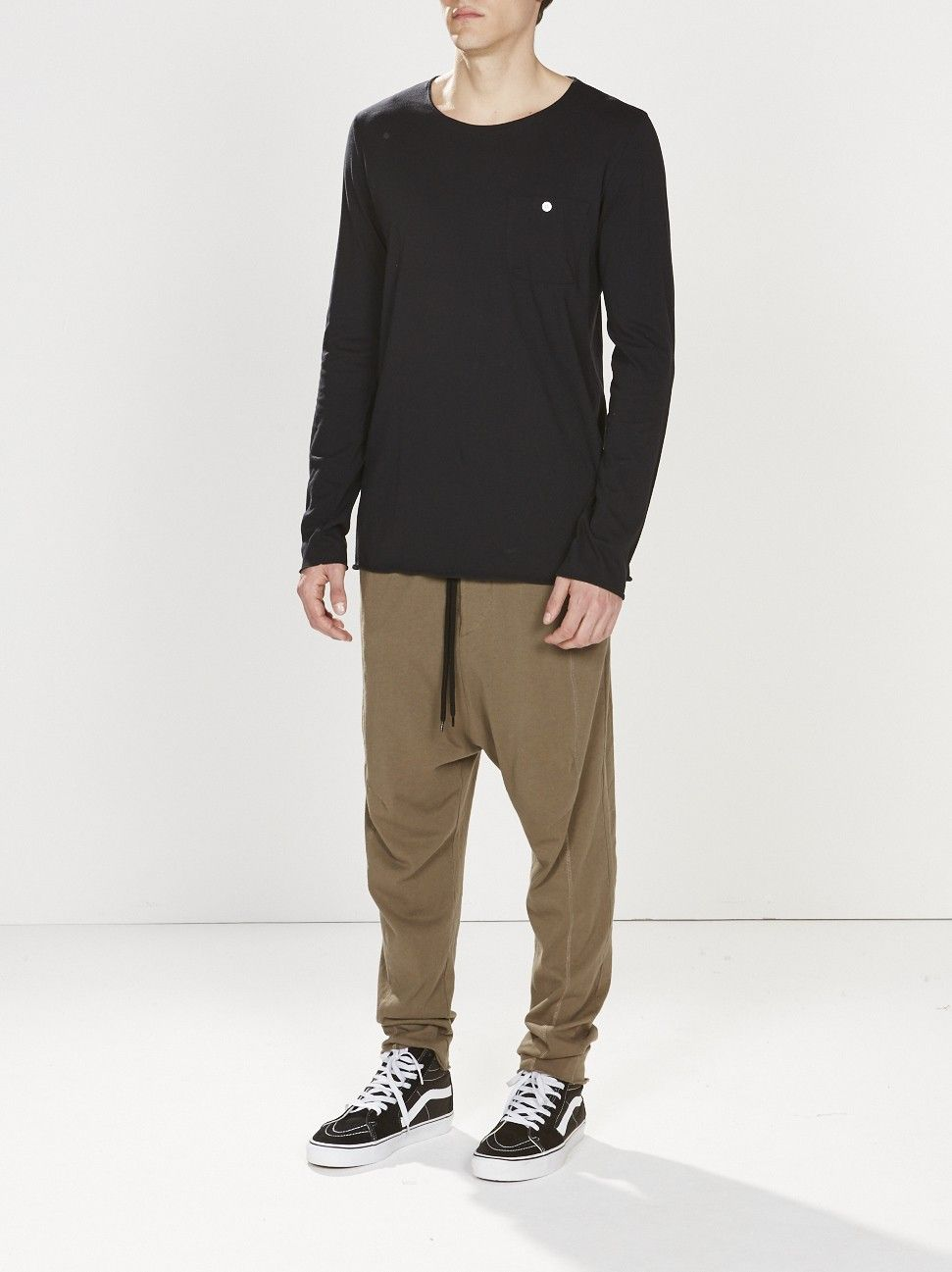 double jersey panelled pant / dark military