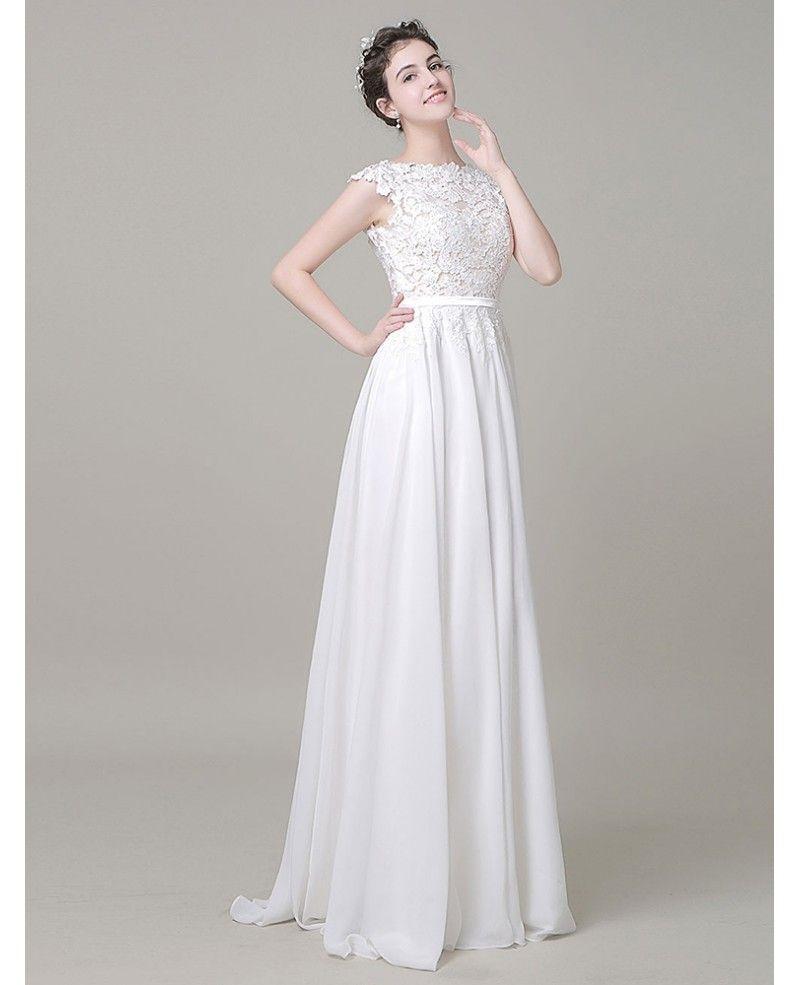 Boho aline high neck floorlength chiffon wedding dress with open