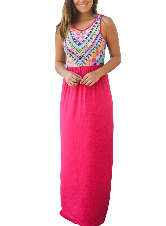 Annflat Women S Chevron Geometric Printed Tank Top Floor Length Tunic Maxi Dress X Large Rosy At Dress Clothes For Women Fashion Clothes Women Long Beach Dress [ 1500 x 1100 Pixel ]