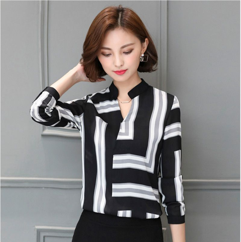 hot sale new 2017 Spring blouse women top  chiffon shirt  long sleeved V collar loose casual thin female blouse 691G 25
