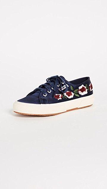Cheap And Fashion Superga Black Floral print Satin Sneakers