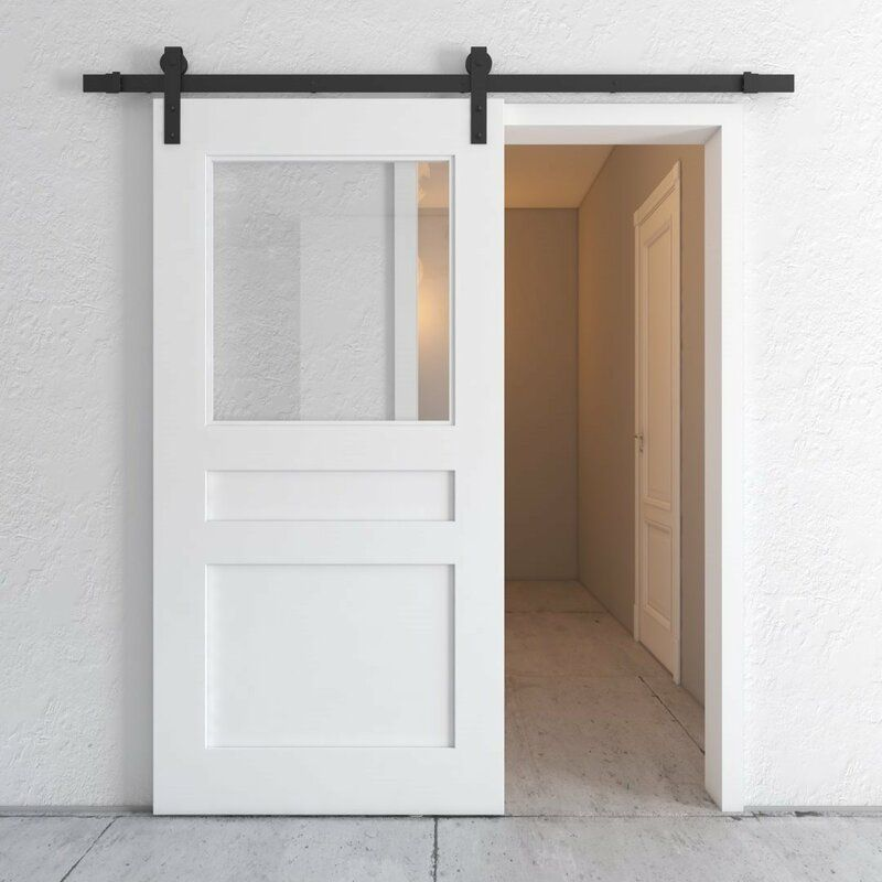Paneled Wood And Glass Painted Butler S Pantry Barn Door With Installation Hardware Kit Barn Door Pantry Glass Barn Doors Barn Doors Sliding