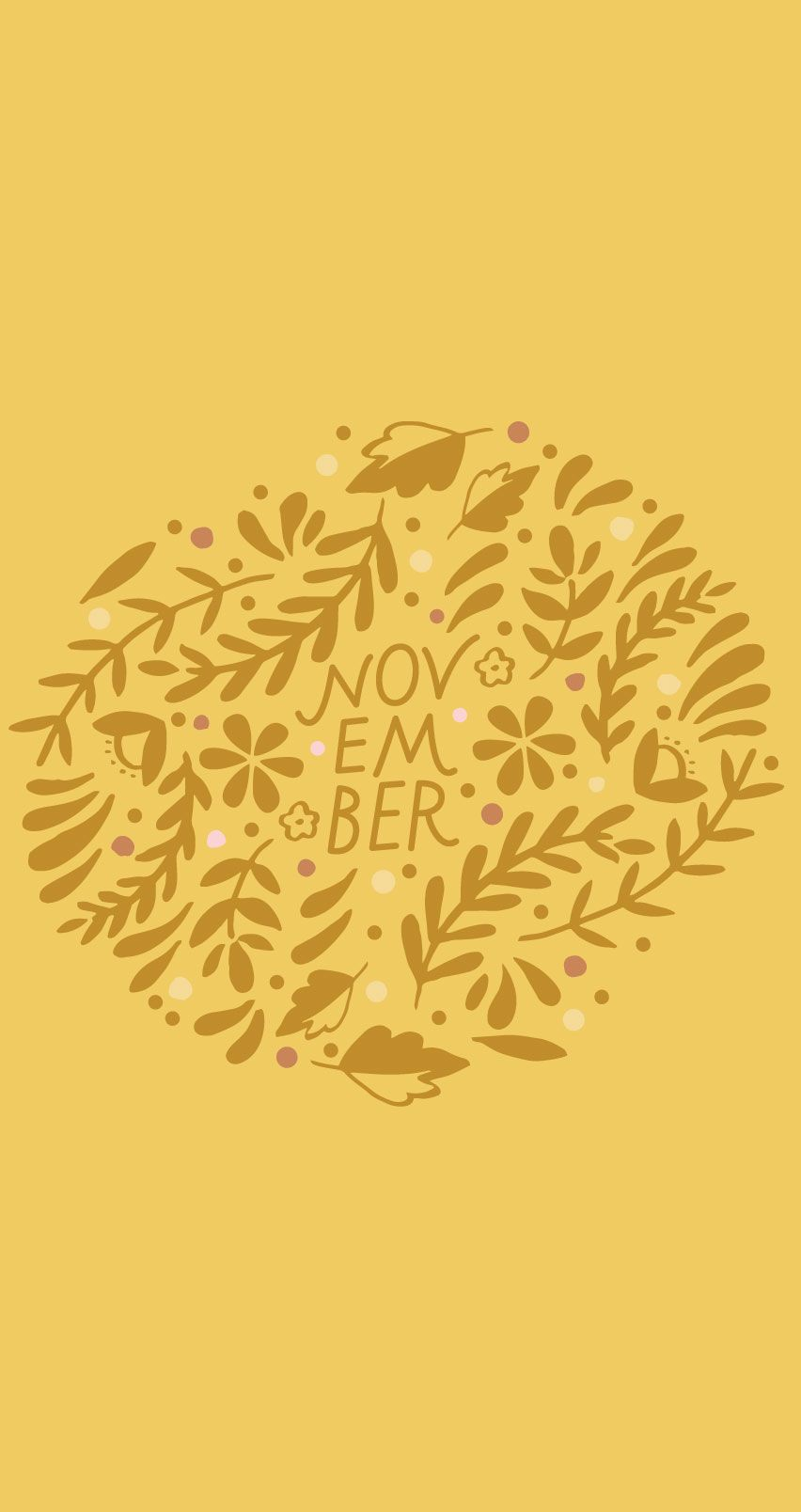 November Autumn Lettering Floral Mustard Yellow Floral