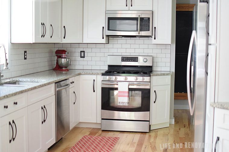 White Cabinets Stainless Steel Appliances Luna Pearl Granite