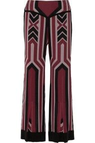 Anna Sui Geometricprint Silkcrepe Wideleg Pants in Red (Burgundy)