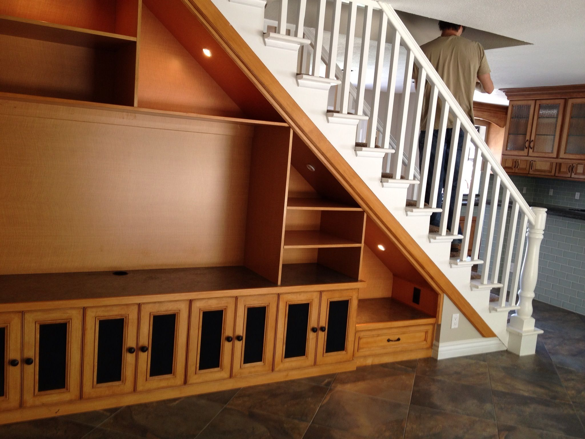 Best Solution For Open Space Under Staircase This Is Double Sided With Entertainment Center On One 640 x 480