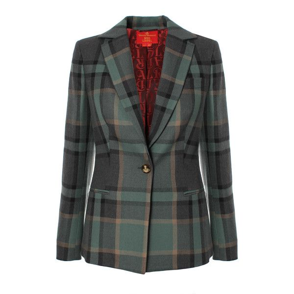Vivienne Westwood Red Label Tartan Classic Blazer (£350) ❤ liked on Polyvore featuring outerwear, jackets, blazers, blazer, plaid lined jacket, tartan jacket, plaid blazer, plaid jacket and lined jacket