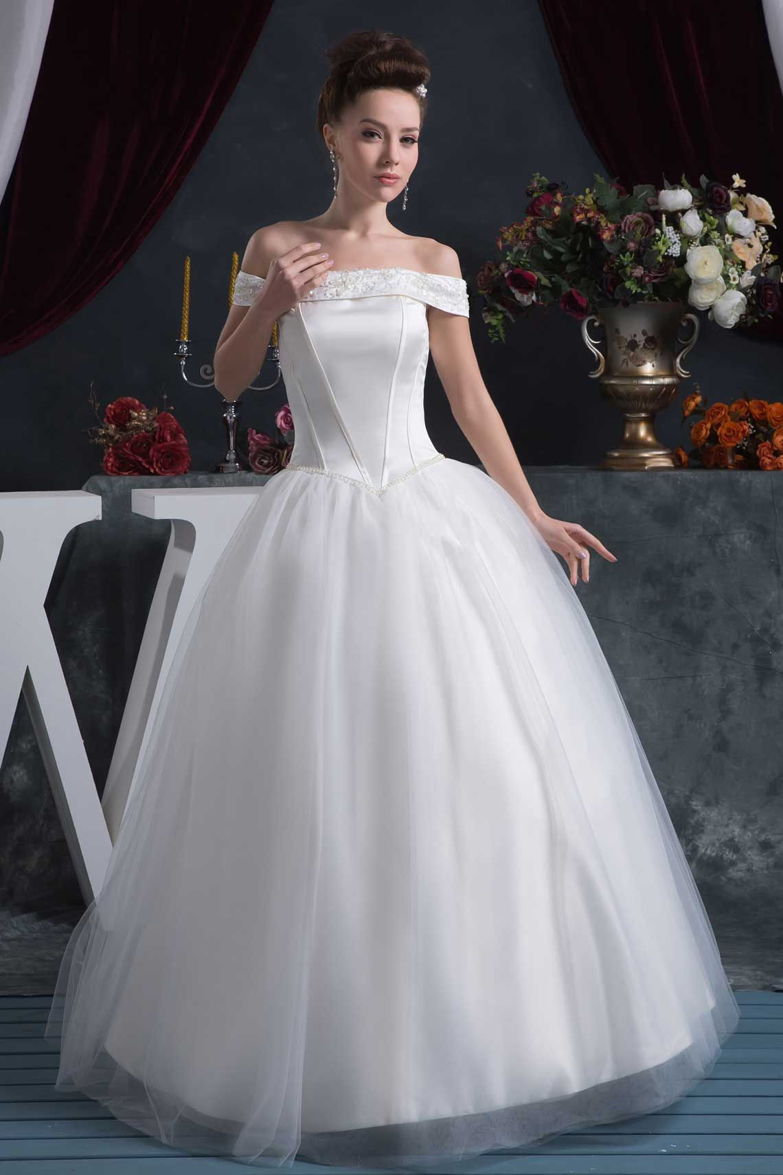Wedding dresses with beading  Ball Gown White Organza FloorLength Off The Shoulder Wedding Dress