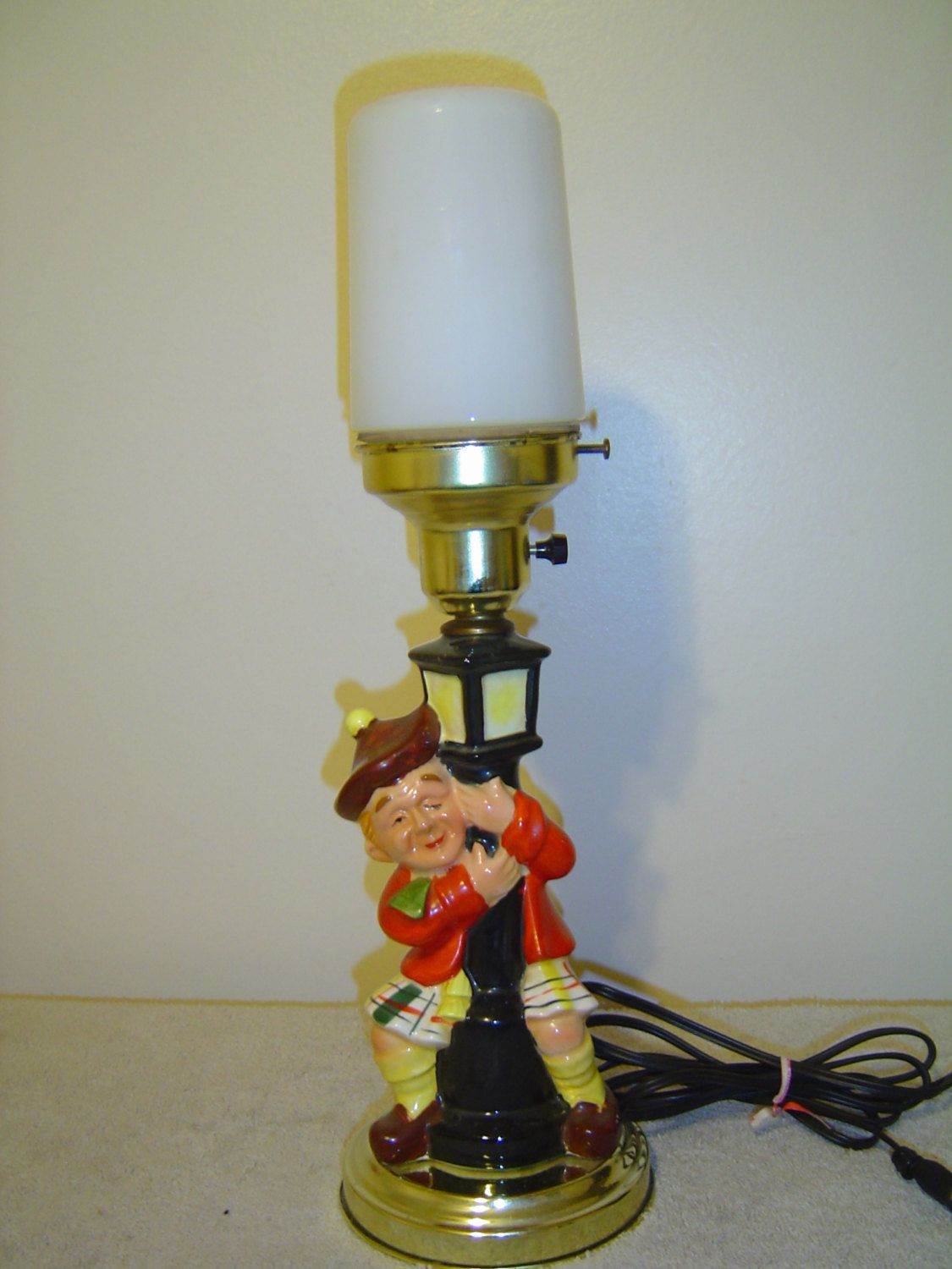 Bar Lamp With Scottish Man Vintage Drunk Hobo Clings To