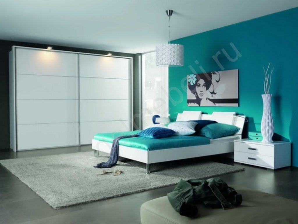 Captivating Modern Bedroom Color Ideas with Blue Green Wall Color Scheme. Without sacrificing modern style  contemporary rug can help to