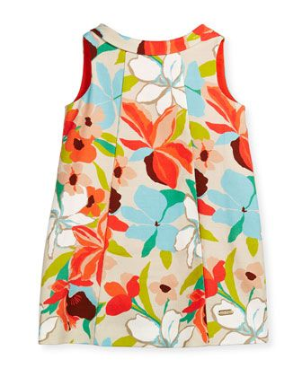 Sleeveless Floral Canvas Shift Dress Multicolor Size 4 12 By Pili