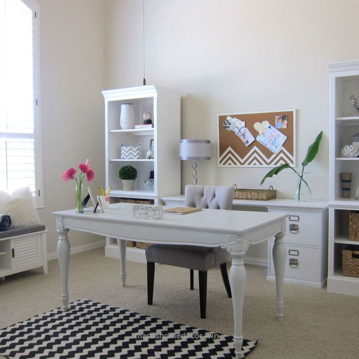 Check It Out Shabby Chic Office Makeover White Bright, Home Decor, Home  Office,