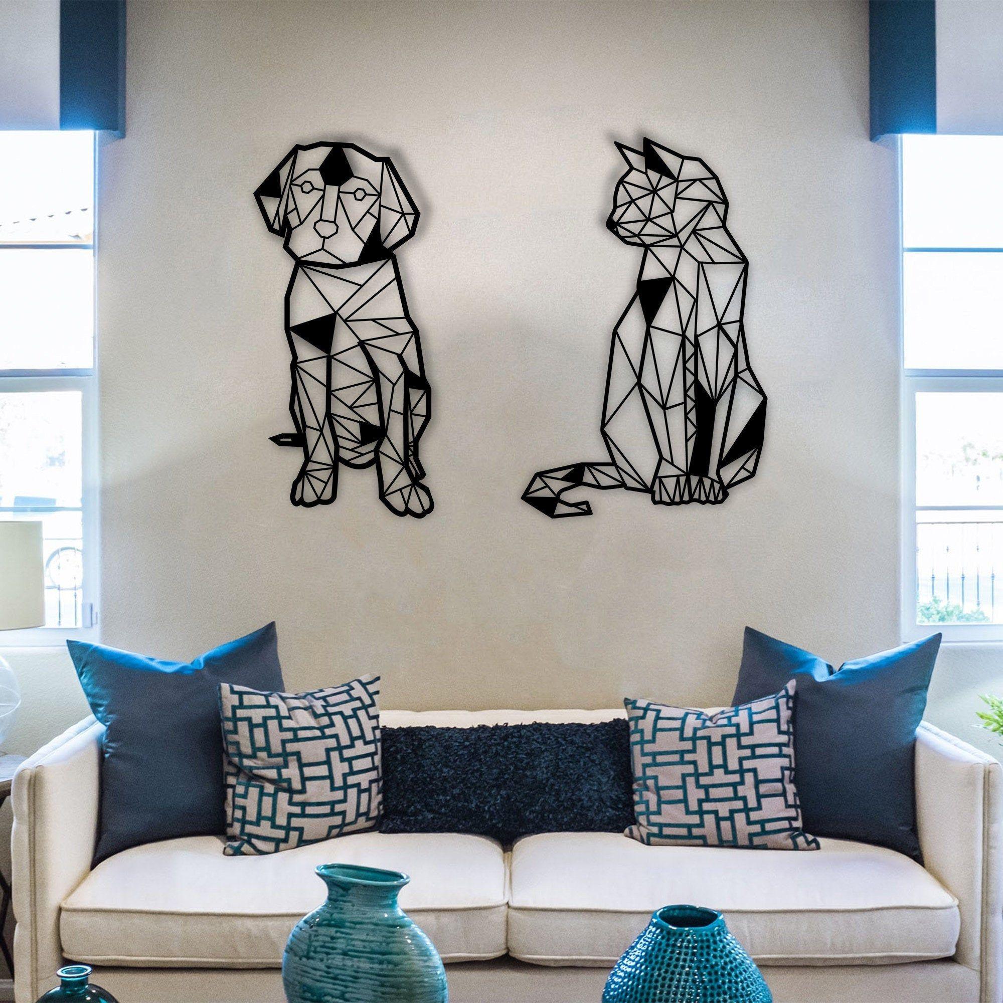 Metal Wall Art Geometric Cat And Dog Inerior Decoration Etsy Cat Wall Art Dog Wall Art Geometric Cat
